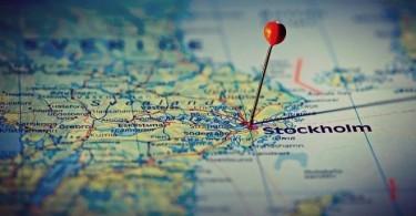 Стокхолм, отбелязан на картата.