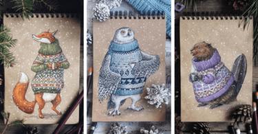 Зимни рисунки на животни