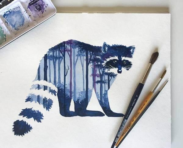 Енот в гората