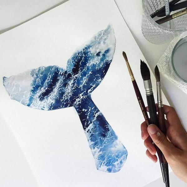 Илюстрация на опашка на кит